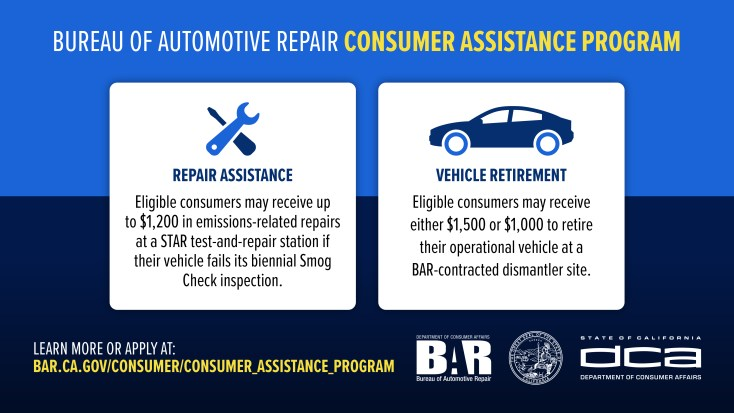 Graphic explains difference between repair assistance and vehicle retirement programs