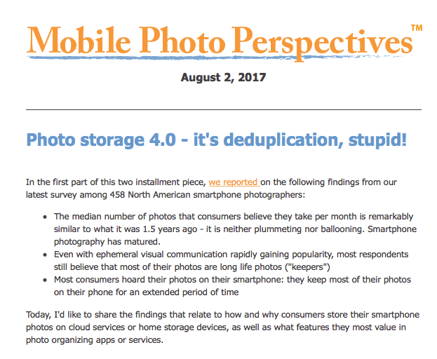 Mobile Photo Perspectives: Photo storage 4.0 – it's deduplication, stupid!