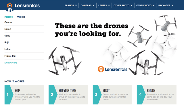 Lensrentals adds Drone and Virtual Reality / 360 equipment to nationwide rental program