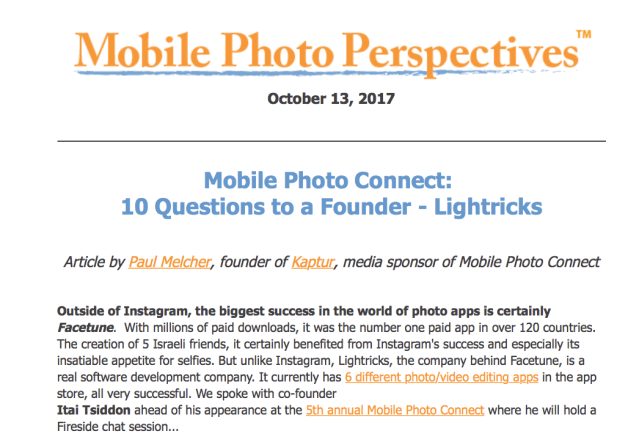 Mobile Photo Connect: 10 Questions to a Founder – Lightricks
