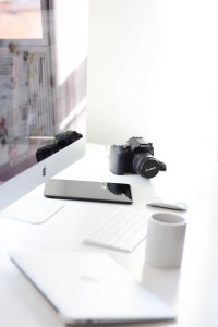 Camera - stock photo, coffee, smartphone