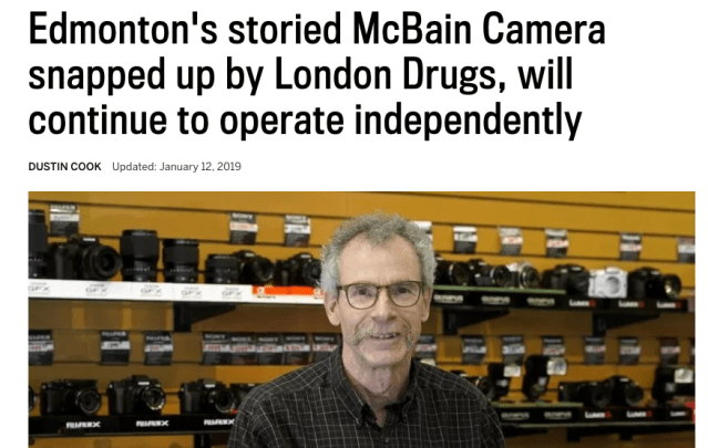 London Drugs purchases local eight-store camera chain, McBain Camera