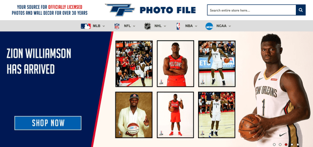 Photo File launches new website, introduces personalized licensed sports photos, wall décor and memorabilia