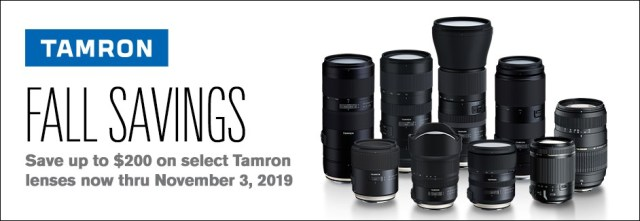 Tamron USA announces Fall Instant Savings up to $200 on nine Tamron lenses