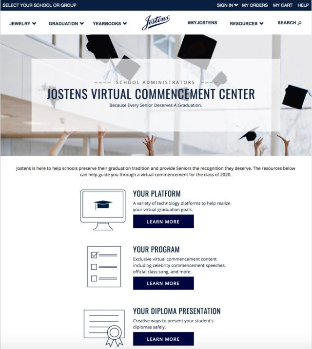 "Jostens introduces free ""Virtual Commencement"" programs"