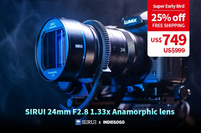 SIRUI launched 24mm F2.8 1.33x anamorphic lens in many mounts