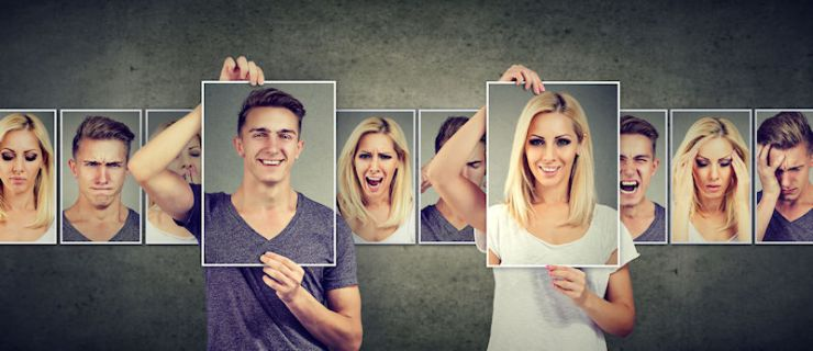 Couple holding happy photos with unhappy ones in a film strip behind.