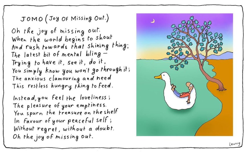 Hashtag JOMO: Joy of Missing Out