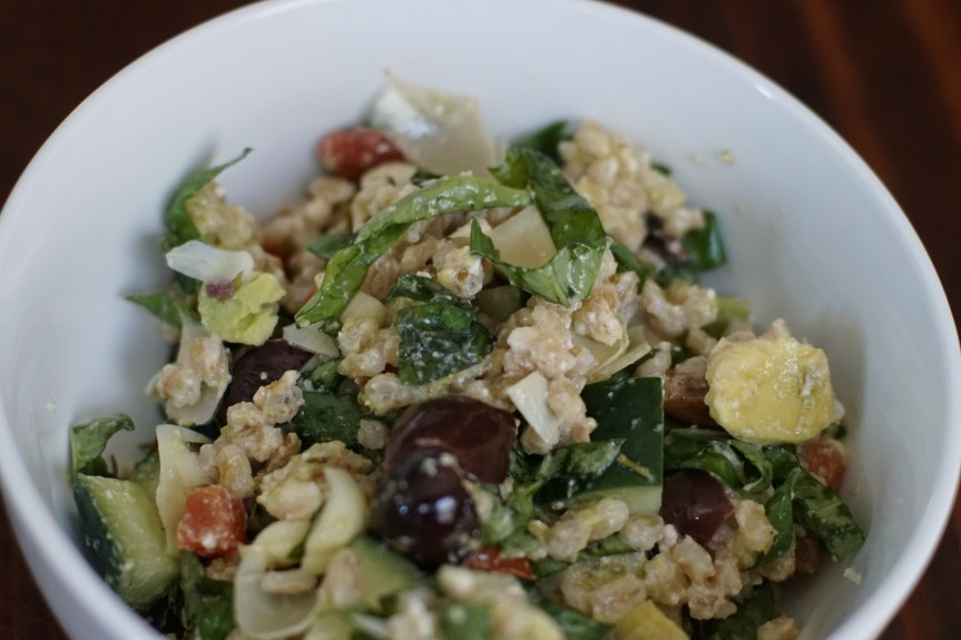 Hearty Barley Salad with Broiled Feta and Tomatoes
