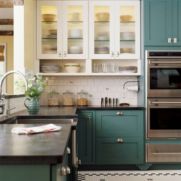 Color Forecast Pantone Spring 2014 Color Report Kitchen with Comfrey Cabinets Tiled Floors Granite Countertops White Cabinets