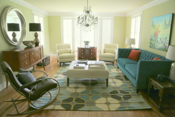 Yellow Gray And Blue Living Room