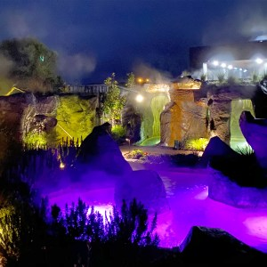 Night time aromatherapy pool & waterfalls