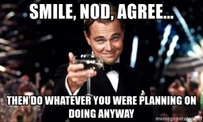 Smile, nod, agree.. then do whatever you were planning on doing anyway.