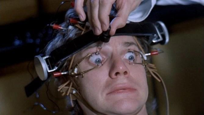 A Clockwork Orange: Alex has his eyes clamped open.