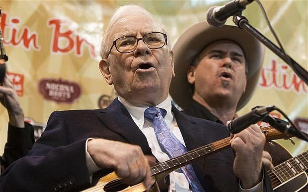Warren Buffet serenading investor.