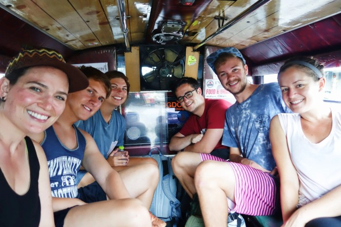 The crew heading out to Doi Inthanon in the back of a shared songthaew.