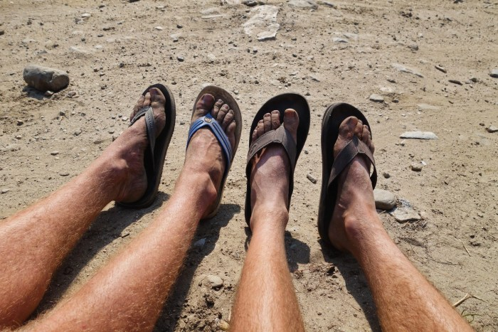Dusty pair of jandals early on the Annapurna Circuit
