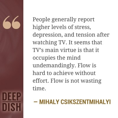 People generally report higher levels of stress, depression, and tension after watching TV. It seems that TV's main virtue is that it occupies the mind undemandingly. - Mihaly Csikszentmihalyi
