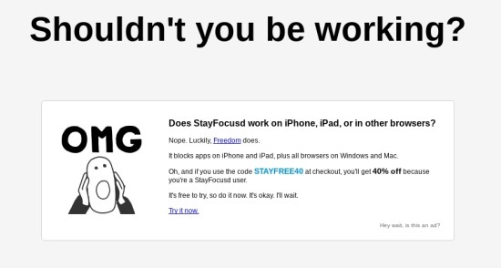 Stayfocusd browser extension: Shouldn't you be working?