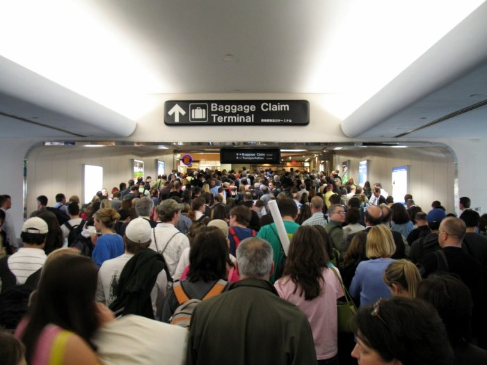 Crowded airport queue