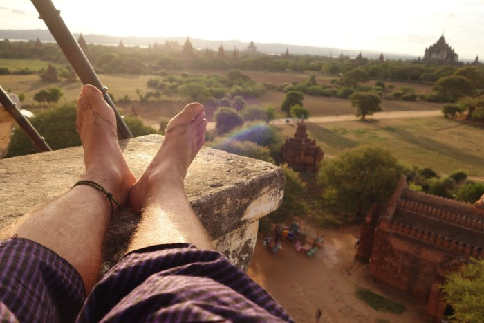 Putting my feet up in Myanmar after a long day of temple hopping during my mini-retirement