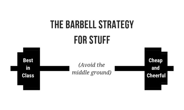 The barbell strategy: quality stuff on one end, cheap and cheerful on the other, nothing in the middle