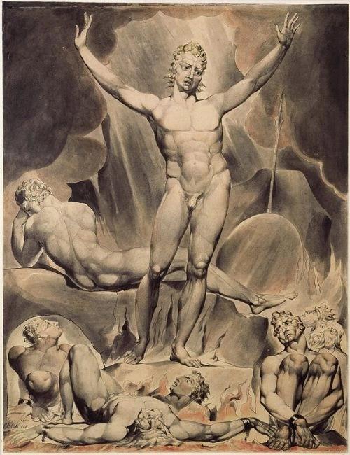 Satan arousing the fallen angels - William Blake watercolour