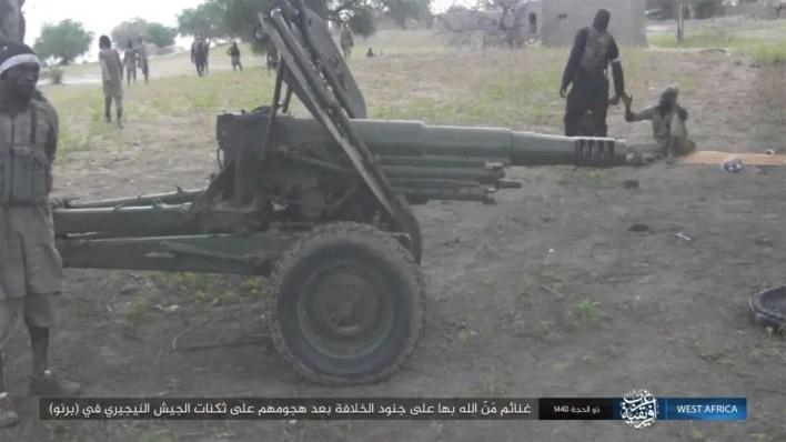 Artillery piece captured by ISWAP