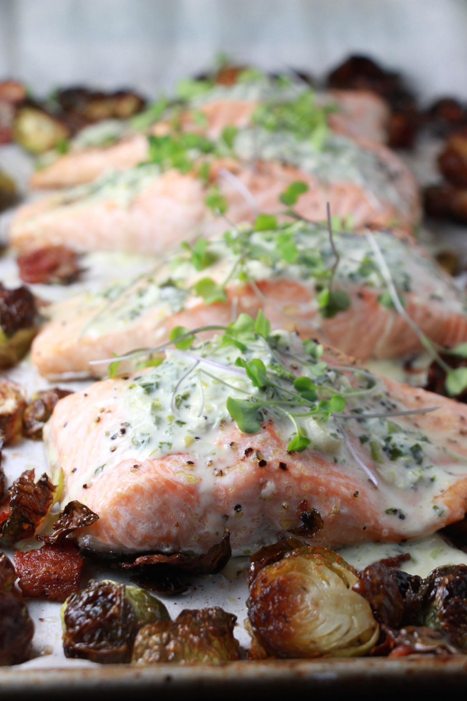 Sheet Pan Salmon And Brussels Sprouts Salad