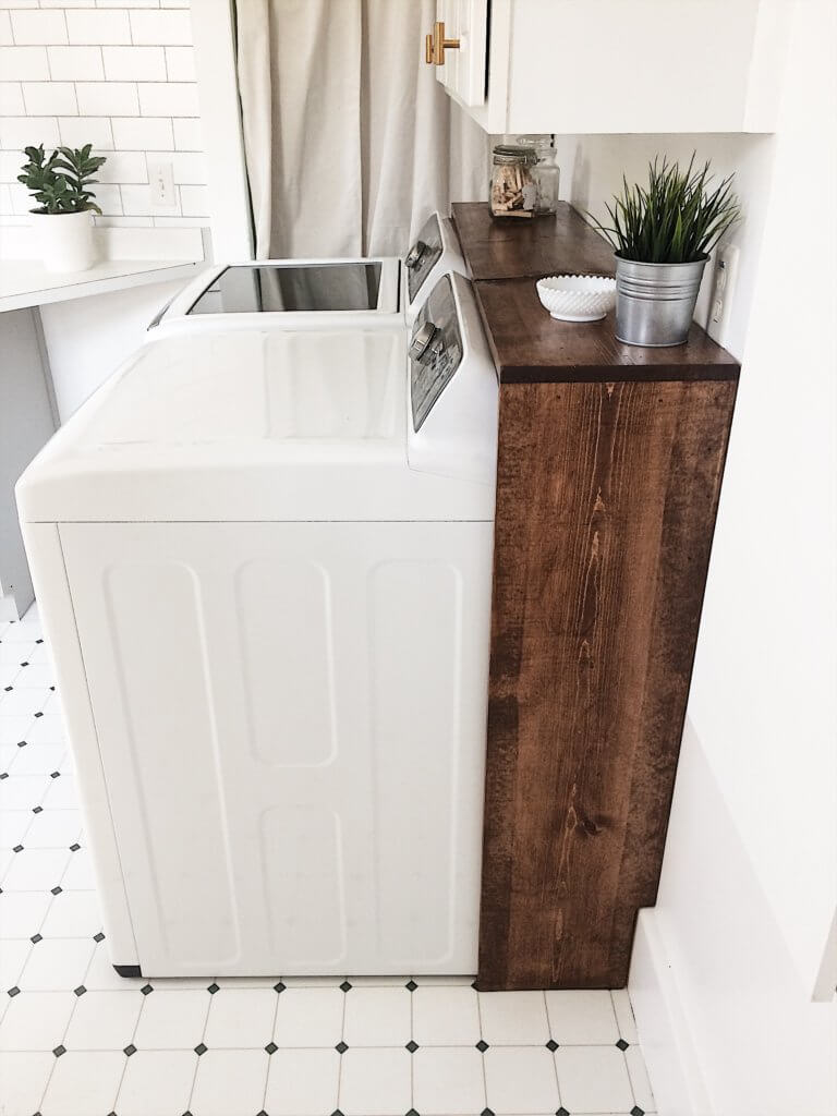 $100 Room Challenge Week 3- DIY Laundry Shelf - The ... on Laundry Room Shelves Ideas  id=53935