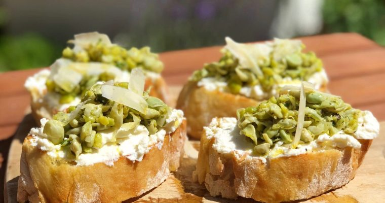 Indulgent Ricotta and Pea Bruschetta