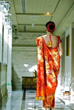 Wedding sari back & hairstyle