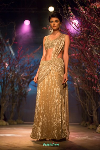 Gold pre-pleated sari