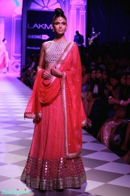 gota patti mirror work fuchsia pink and white lehenga Anita Dongre Lakme Fashion Week 2014