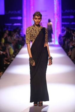 Shantanu & Nikhil black sari with embroidered blouse