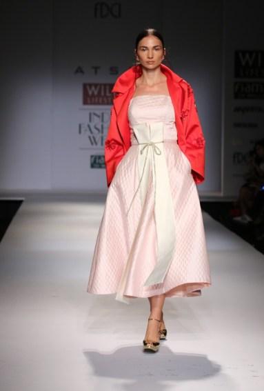 Strapless midi dress by ATSU. Ditch the jacket.