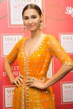 Anita Dongre new collection sneak peek at Vogue Bridal Studio for Vogue Wedding Show 2015 Orange jacket anarkali