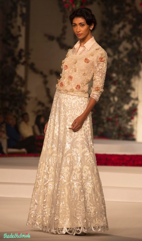 Ivory Sequin Skirt and Peach Shirt with Small Floral Motifs and Applique layer - Varun Bahl - Amazon India Couture Week 2015