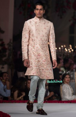 Pale Pink Sherwani Jacket with Floral Embroidery for Men _ Pale Blue Churidar Pyjama - Varun Bahl - Amazon India Couture Week 2015