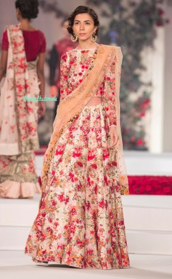 Heavily embroidered floral Lehenga Set with Peach Dupatta - Varun Bahl - Amazon India Couture Week 2015