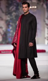 Black Churidar Kurta Pyjama for Men with Red stole - Varun Bahl - Amazon India Couture Week 2015jpg