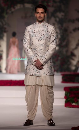 Ivory Floral Print Sherwani style Bandhgala with Dhoti Pants - Varun Bahl - Amazon India Couture Week 2015
