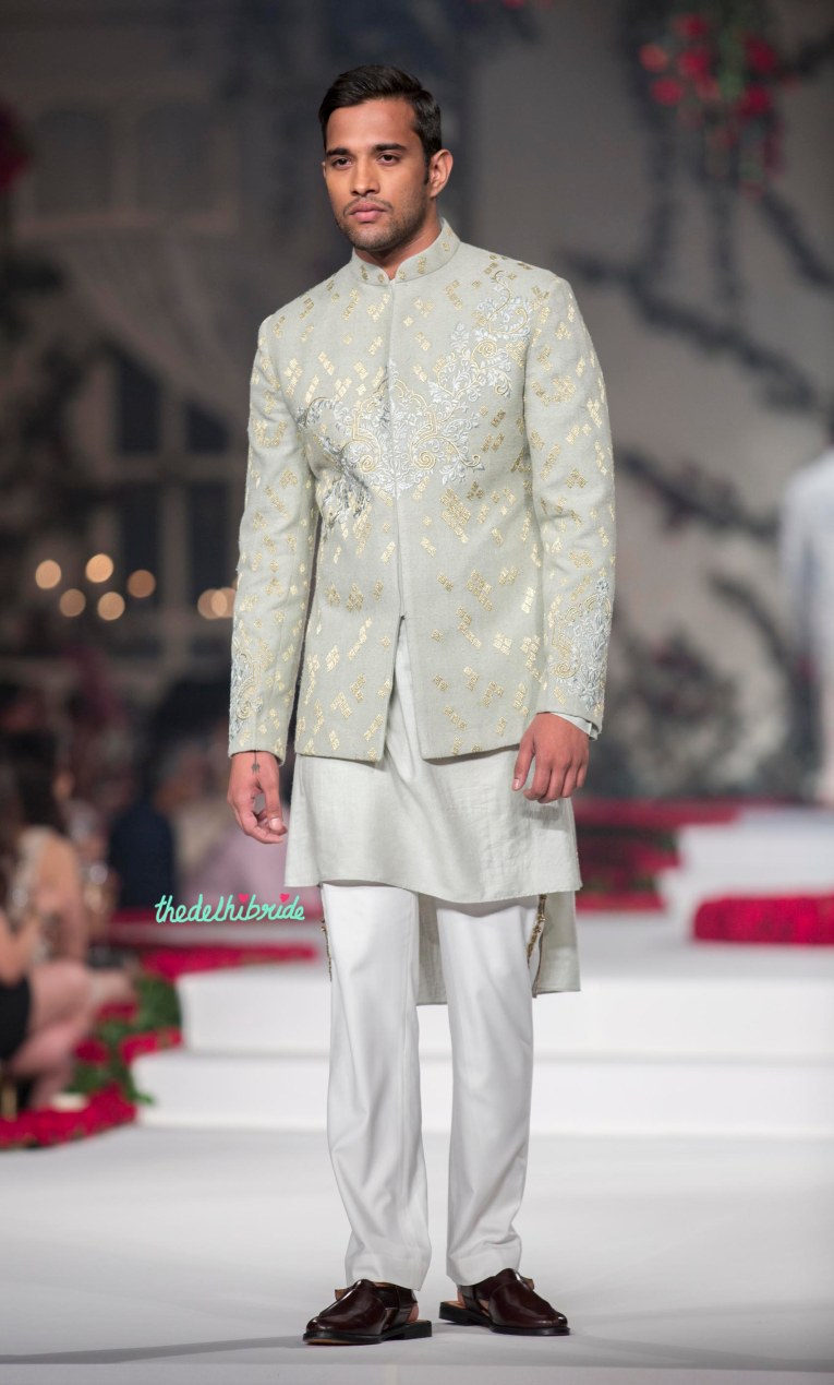 Pale Blue Hand Embroidered short sherwani style bandhgala with Kurta _ Pyjama - Varun Bahl - Amazon India Couture Week 2015