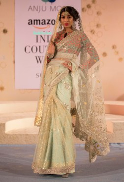 Pale blue sari with foil print border and blouse