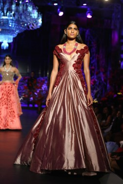 Dusty Rose Pink Ball Gown with 3D Floral Embroidery - Manish Malhotra - Amazon India Couture Week 2015