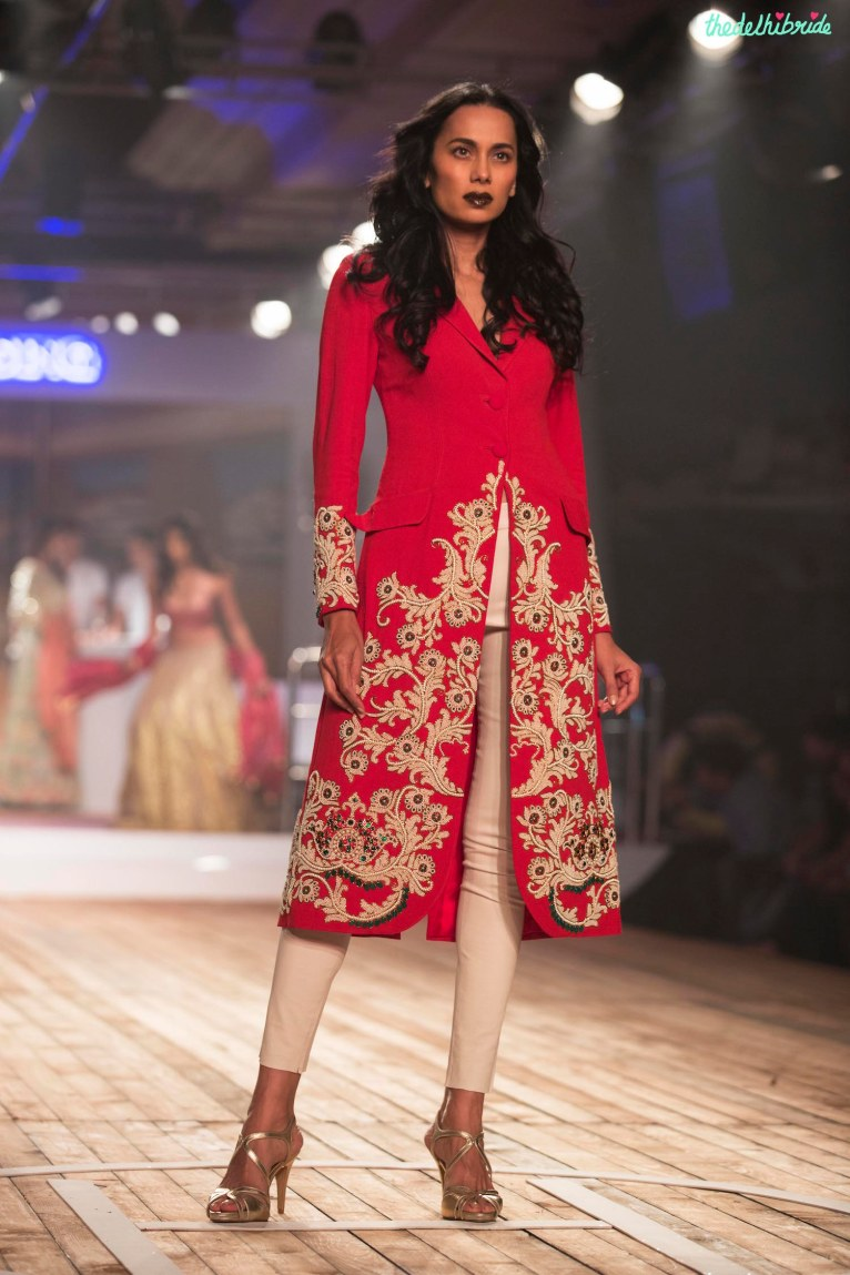 Earthy Red Velvet applique work on Trench Jacket with Beige Cigarette Pants - Monisha Jaising - Amazon India Couture Week 2015
