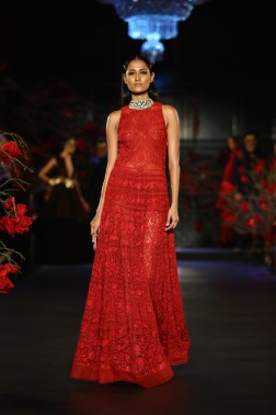 Embroidered Red Full Length Dress - Manish Malhotra - Amazon India Couture Week 2015