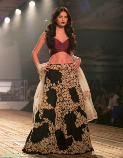 Floral Applique Lehenga with Windsor Wine Bralette Top - Monisha Jaising - Amazon India Couture Week 2015 .jpg