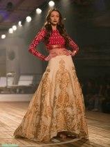 Gold Embroidered 3D Applique Beige Lehenga with Jamnagar Silk Red Blouse - Monisha Jaising - Amazon India Couture Week 2015