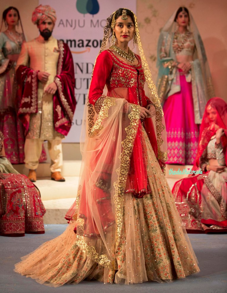 Jacket lehenga in bridal red and beige with a floral underskirt